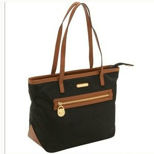 Michael Kors Black Gold Kempton Nylon Small Tote